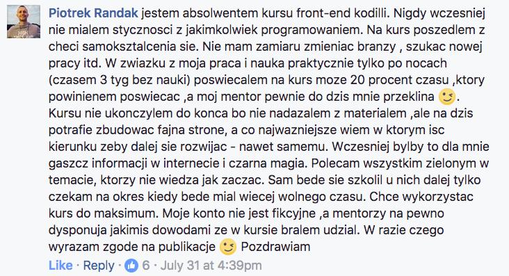 Piotrek Randak - opinia Kodilla