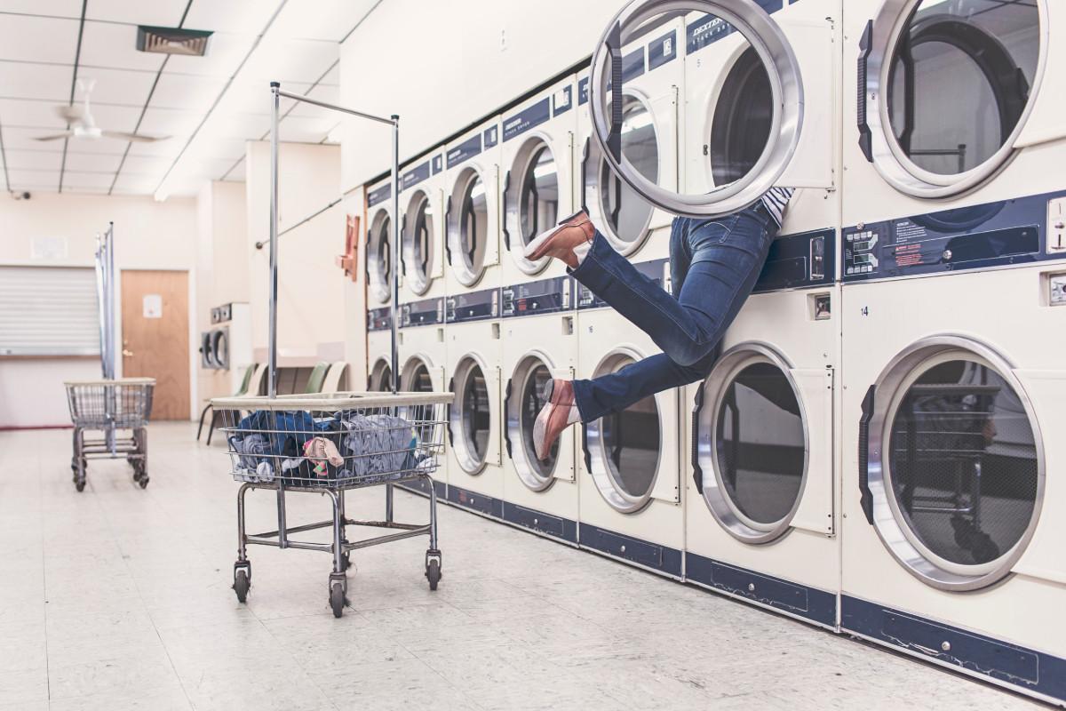 woman stuck in a washing machine